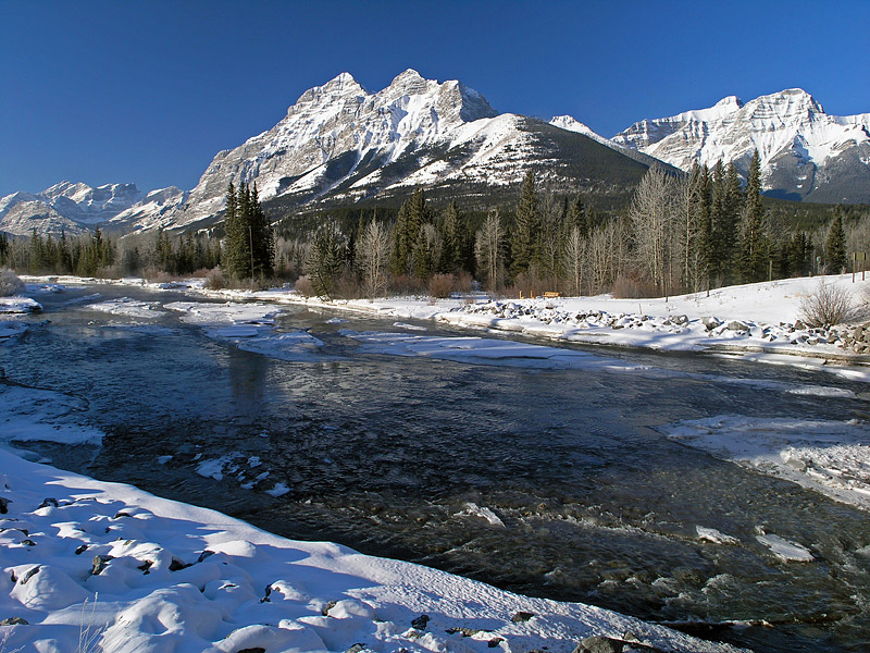 Sunrise on Mount Kidd from the Kananaskis River