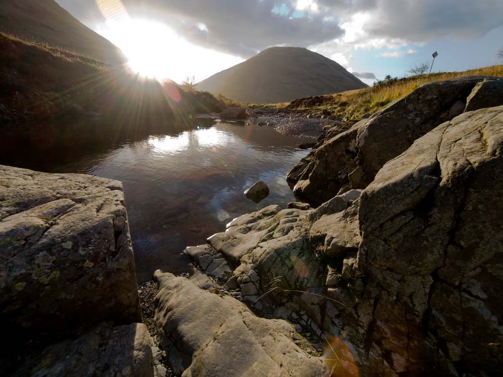 Into the sun, Glen Coe, the highlands.