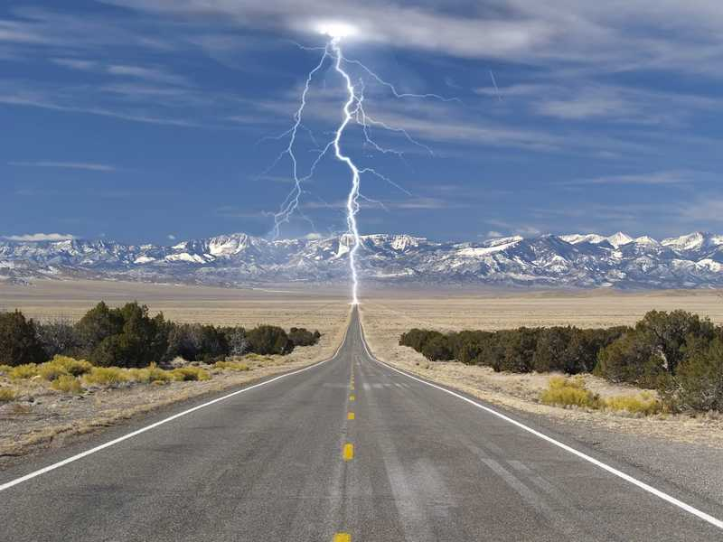 Highway lightning strike