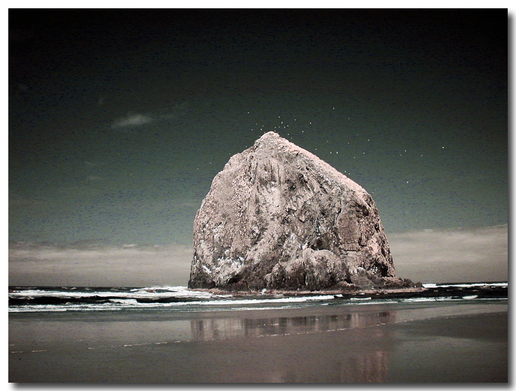 Haystack Rock in Infrared, Cannon Beach Oregon