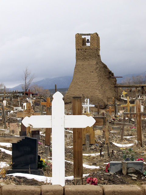 Crucifix and Church, Indian Pueblo, New Mexico