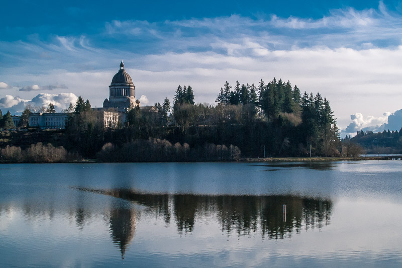 Washington State Capitol Reflecting in Capitol Lake