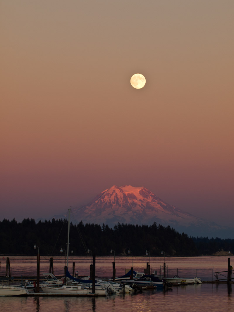 Moon over Mount Rainier at Sunset