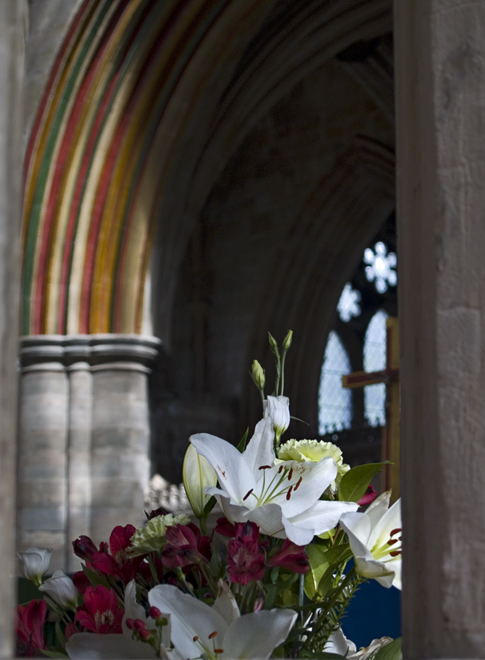 Flowers in Exeter Cathedral