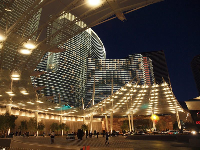 Aria East Entrance At Night